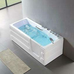 "MECOR 61"" x 30"" x 24"" Walk-in Whirlpool Bathtub Left Inward"
