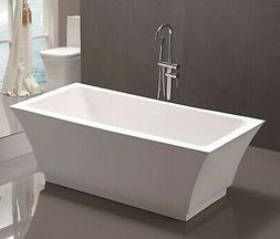 "67"" Freestanding Bathtub White Acrylic Modern Rectangular So"