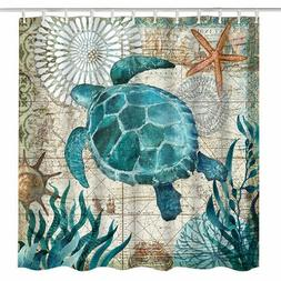 Blue Sea Turtle Shower Curtain or Bath Mat Toilet Cover Rug