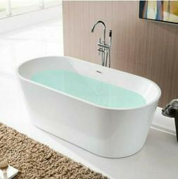 Bordeaux 59 in. Acrylic Flatbottom Freestanding Bathtub in W