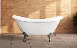 Freestanding Acrylic Soaking Oval White Clawfoot Bathtub | W