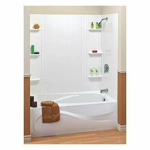 5pc white shower bathroom 6 shelf enclosure