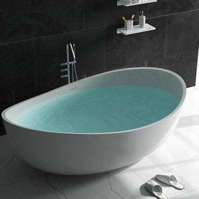 "71"" Contemporary Oval Tub Freestanding Stone Resin Soaking B"