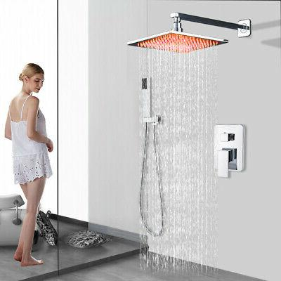shower faucet combo 8 inch led rainfall