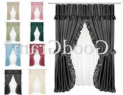 Lauren Dobby Design Double Swag Shower Curtain Sets - Assort