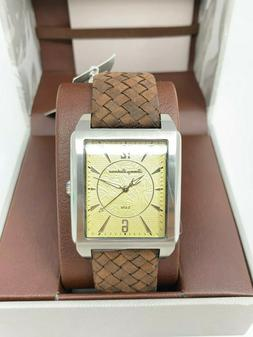 Tommy Bahama Men's Rectangular Watch, Brown Leather Band TB0