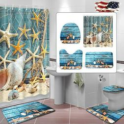 US Ocean Starfish Shower Curtain Bathroom Non-Slip Bath Mat